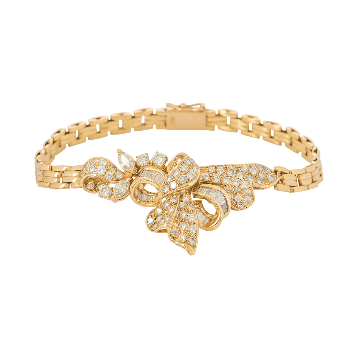 Yellow Gold Diamond Set Bow Bracelet